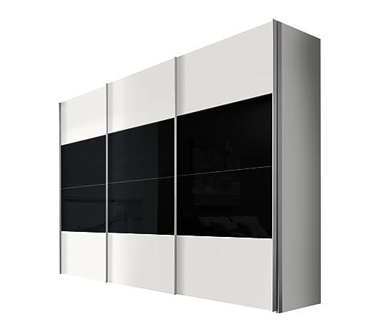 Solutions 49620-321 Schwebeturenschrank 3-turig, Korpus und Front polarweiß, Glas schwarz, Griffleisten alufarben, 68 x 300 x 216 cm