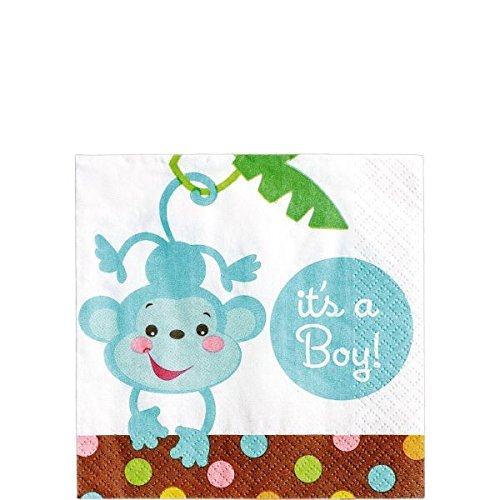 "Amscan Adorable Fisher Price Baby Shower Party Supply Beverage Paper Napkins, 5.5 x 5.5"", Brown/Blue"