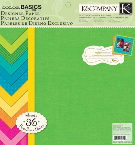 K&Company Designer Paper Pad, Color Basics Radiant, 