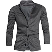 Mens Stylish Stand Collar Long Sleeve Single Breasted Casual Jacket Dark Gray M