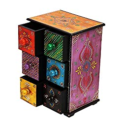 Shreeng Multi Color Of Six Drawer Embossed Wooden box