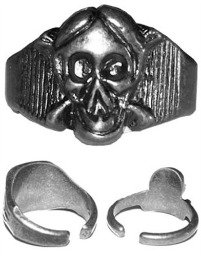 1 Inch Pewter Metal Skull Witch Warlock Halloween Ring