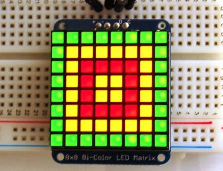 "Adafruit Industries 1.2"" 8X8 Red/Green Bi-Color Led Matrix With I2C Backpack"