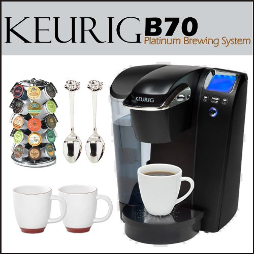 Keurig B70 Platinum Brewing System Black + 28 K-Cup Carousel + 12 oz. Halo Bistro Wide Body Coffee Cup 2 pcs. + Accessory Kit