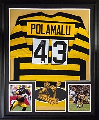 Troy Polamalu Framed Jersey Signed JSA COA Autographed Pittsburgh Steelers Throwback