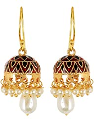 Gold Plated Jhumki Earrings With Pearl Drops Featuring Meenakari Work