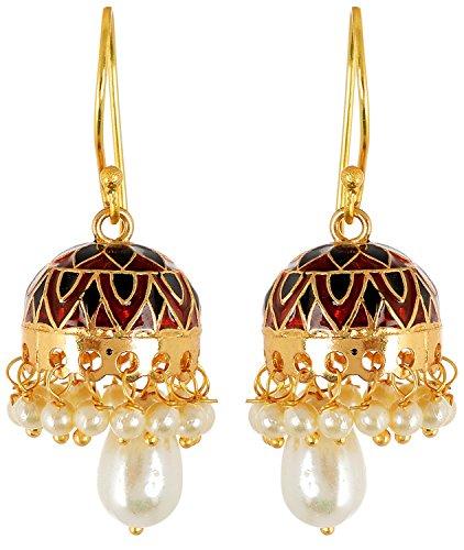 Gold Plated Jhumki Earrings With Pearl Drops Featuring Meenakari Work