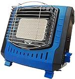 カセットガスストーブ 小型 キャンプ 電源不要 ブルー 青 消火装置付 カセットボンベ式 ポータブル