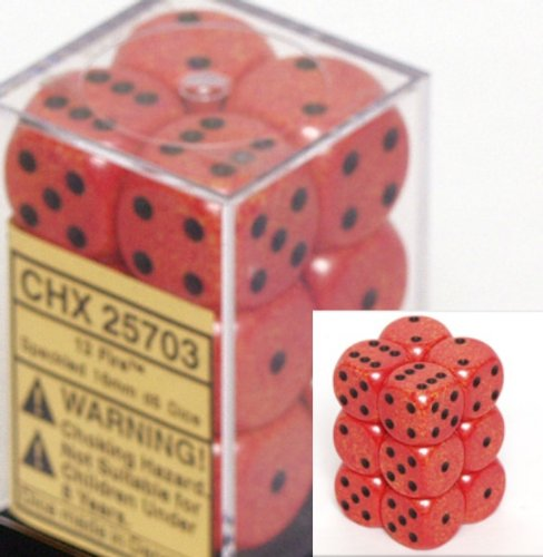 Chessex Dice d6 Sets: Fire Speckled - 16mm Six Sided Die (12) Block of Dice