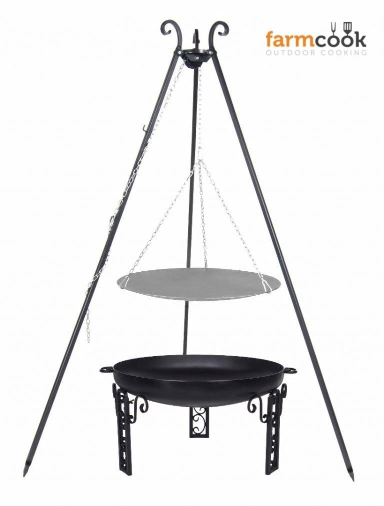 Dreibein Grill VIKING Höhe 180cm + Lagerfeuerpfanne aus Stahl Durchmesser 33cm + Feuerschale Pan40 Durchmesser 60cm bestellen