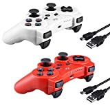 2 Pcs Kabi Wireless Bluetooth Controller for PS3,Double Shock Gamepad 6-Axis Remote Game Controller for Playstation 3 with Charging Cable(2017 New)(Red+White)