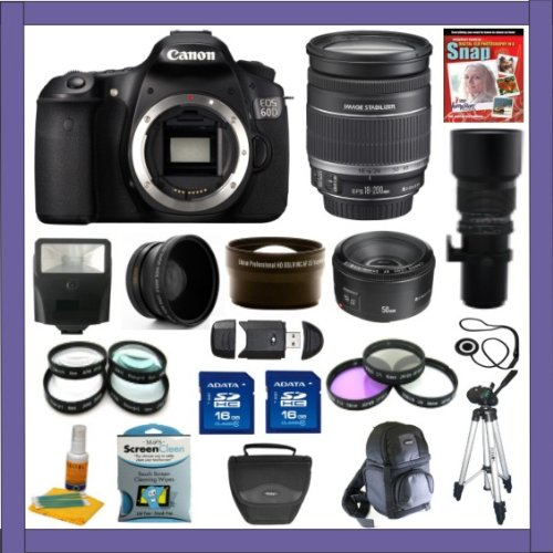 Canon Eos 60D 18 Mp Cmos Digital Slr Camera With Ef-S 18-200Mm F/3.5-5.6 Is Standard Zoom Lens + Ef 50Mm F/1.8 Ii + 500Mm Preset Telephoto Lens + Super Wide Angle Lens + 2X Telephoto Lens + Macro Lens Set + Uv Filter, Cpl Filter, Fld Filter Kit + 32 Gig D