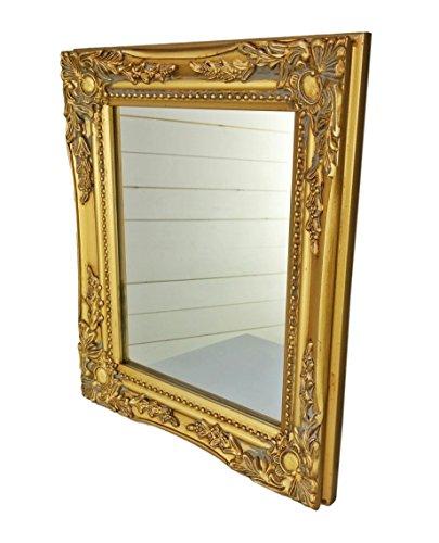 32x27x3cm-rechteckiger-Wand-Spiegel-handgefertigter-Vintage-Antik-Rahmen-aus-Holz-gold-inkl-Befestigung