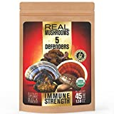 5 Defenders Mushroom Extract Blend by Real Mushrooms - Chaga, Reishi, Shiitake, Maitake and Turkey Tail Mushroom Extract Powders - Certified Organic - Immune Defense - 45g Bulk Mushroom Powder - Perfect for Shakes, Smoothies, Coffee and Tea