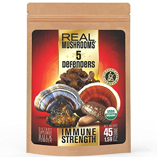 5-Defenders-Mushroom-Extract-Blend-by-Real-Mushrooms-Chaga-Reishi-Shiitake-Maitake-and-Turkey-Tail-Mushroom-Powder-Organic-Immune-Defense-45g-Perfect-for-Shakes-Smoothies-Coffee-and-Tea