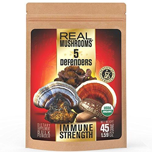 5-Defenders-Mushroom-Extract-Blend-by-Real-Mushrooms-Chaga-Reishi-Shiitake-Maitake-and-Turkey-Tail-Mushroom-Powder-Organic-Immune-Defense-45g-Perfect-for-Shakes-Smoothies-Coffee-and-Tea