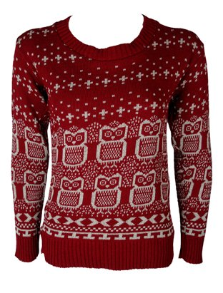 The Home of Fashion New Womens Red Owl Fair Isle Patterned Knitted Jumper Size 8-14 (SM (8-10))