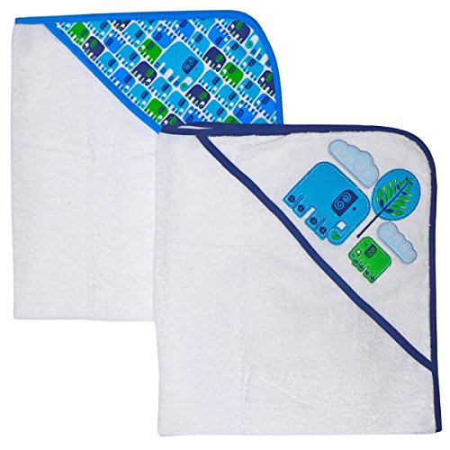 Happy Chic by Jonathan Adler Applique, Print Interlock and Woven Terry Hooded Towel, Blue Elephant, 2 Count
