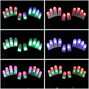 TURATA LED Gloves Finger Lights Toys with Lights 3 6 Modes Colorful Rave Gloves for Party