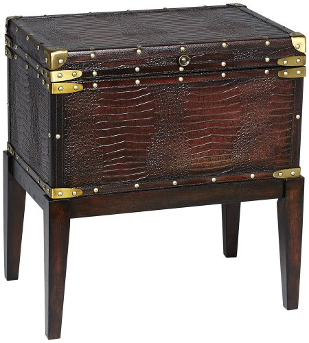Cheap Harbordale Faux Alligator Leather End Table (JS-368-16 21 FINISH)