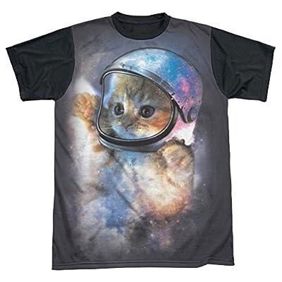 Sublimation Black Back: Space Cat Astronaut T-Shirt