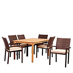 Amazonia Burlington 7 Piece Teak Wicker Dining Set With Antique Beige Sunbrella