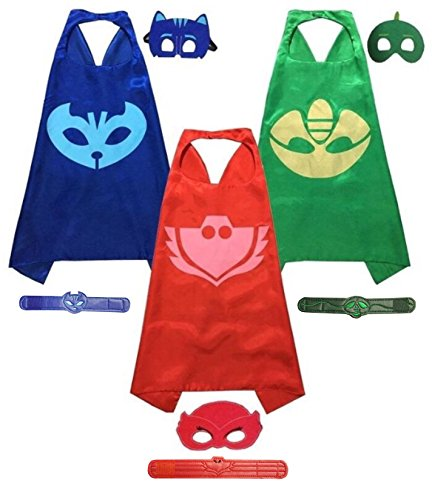 [PJ Masks Set of 3 Capes with Masks and Leatherette Bracelets (Catboy, Owlette, Gekko)] (Pj Mask Costume)