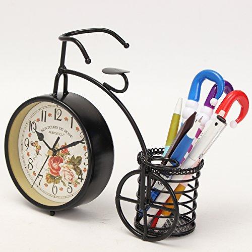 BABAN Creative Alarm Clock With Brush Pot Bicycle Shape Retro Alarm Clock Classic Small Round Silent 5