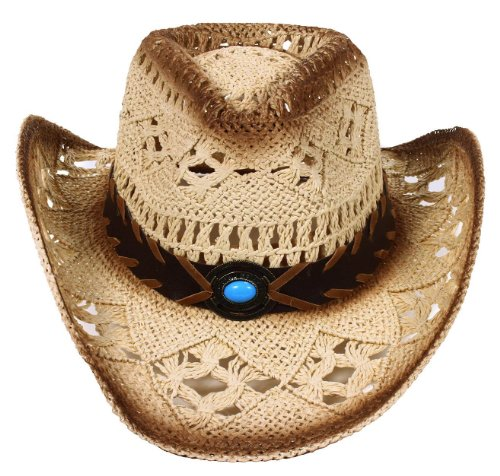 Simplicity Western Country Style Cowboy Straw Hat Leather Band Turquoise Jewel