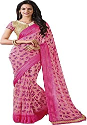 Ambica women faux georgette floral print saree(Amb-4201_Pink_Freesize)