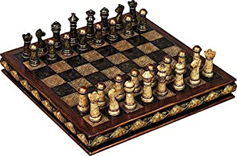 Deco 79 Poly-Stone Chess Set 10 by 3-Inch