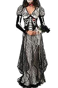 Dear-Lover Women's Super Deluxe Bone Yard Bride Costume One Size Multicoloured