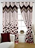 "Story@Home Eyelet Fancy Jacquard 1 Piece Door Ringtop Curtain Set- 46 "" X 84 "", 7 feet, Brown"