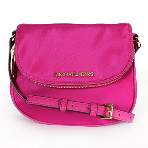 Michael Kors Bedford Nylon Flap Crossbody Bag Fuschia