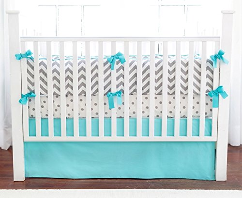New Arrivals Crib Bed Set, Zig Zag Slate with Aqua Trim