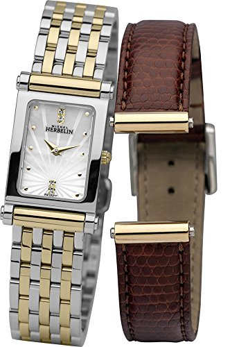 Michel Herbelin Antares Interchangeable Women's Quartz Watch with Mother of Pearl Dial Analogue Display and Two Tone Stainless Steel Plated Bracelet COF17048/BT59M