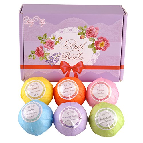 Lady-Up-6-Pack-Extra-Large-Bath-Bomb-Gift-Set-42oz-Handmade-Spa-Bath-Fizzies-with-Organic-Essential-Oil-Blends