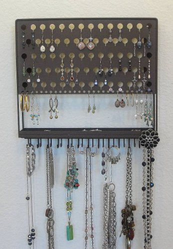 (AAC-Chateau Brown) Angelynn's Contemporary Styled Accessory Angel - Pierced Earring Holder & Jewelry Organizer - Hanging Necklace Storage Rack - Wall Mount Earring Tree Display Stand