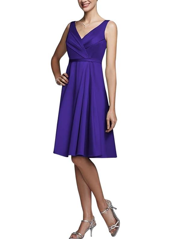 Short Sleeveless V Neck Cotton Sateen Bridesmaid Dress Style F15450
