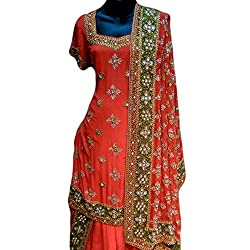 Reet Glamour Women 's Crepe Unstitched Orange Heavy Embroidered Punjabi Suit