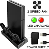 Ortz PS4 Vertical Stand [2017 Version] Cooling Fan [FREE External Power Supply & 10ft Cable] for Playstation 4 - Best Dock Controller Charging Station with 5 USB Ports - 2 Speed Fan & LED Display