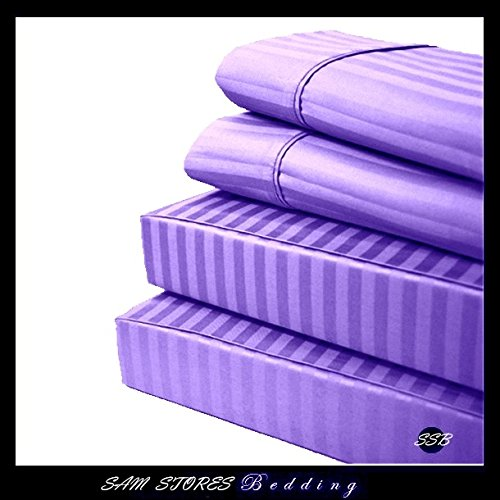 Luxurious 100% Egyptian Cotton 600TC Cal-King Size Attached Waterbed Sheet Set Stripe Lilac (King Size Waterbed Sheet Sets compare prices)