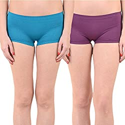 Mynte Women's Sports Shorts (MEWIWCMBP-SHR-104-103, Blue, Purple, Free Size, Pack of 2)
