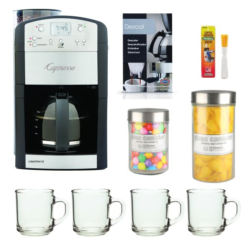 Capresso 465 CoffeeTeam TS 10-Cup Digital Coffeemaker Bundle with Brushtec Coffee Grinder Dusting Brush + Urnex Dezcal Home Activated Descaler + Home Basics Medium and Large Glass Jar and Four 10z ARC Handy Glass Mugs