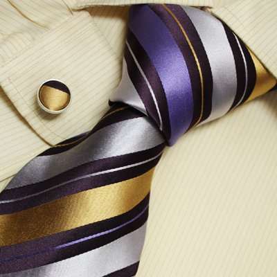 Blue gold striped mens dress ties gifts ideas discount silk neck ties cufflinks set A1138