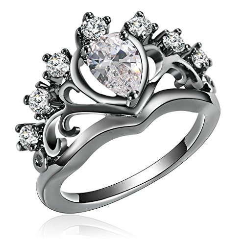 Moandy Jewelry Crown Ring For Bff Crown Ring King Crown Ring Black Cubic Zirconia Ring Wedding (Ariel Gem Ring compare prices)