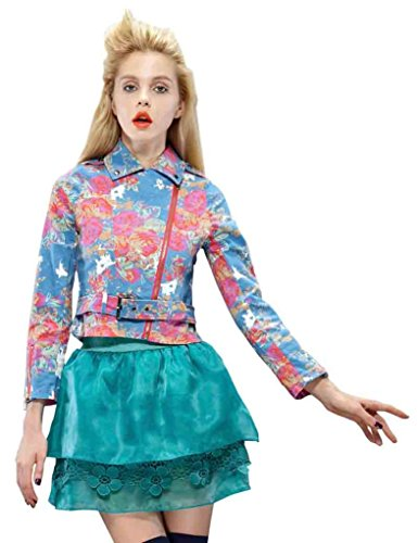 Elf Sack Womens Autumn Jean Jacket Printing Medium Size Pink