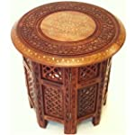 "Indian Hand Carved 18"" Table with Bra..."