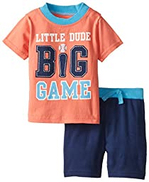 BON BEBE Baby-Boys Newborn Little Dude 2 Piece Short Set, Multi, 0-3 Months