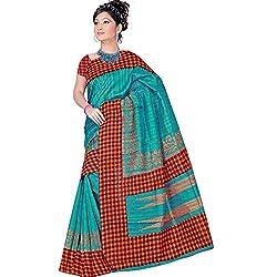Pawan Tex Synthetic Bhagalpuri Saree (saree92_Red Green)
